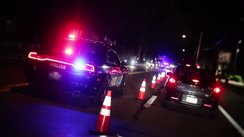 A sobriety police checkpoint. - HD stock video clip