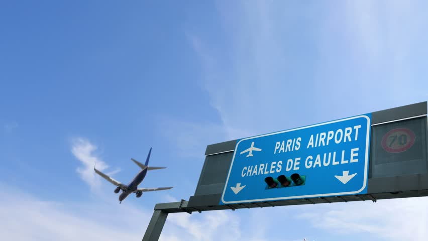 Airplane flies over paris airport signboard   Shutterstock HD Video #25267169
