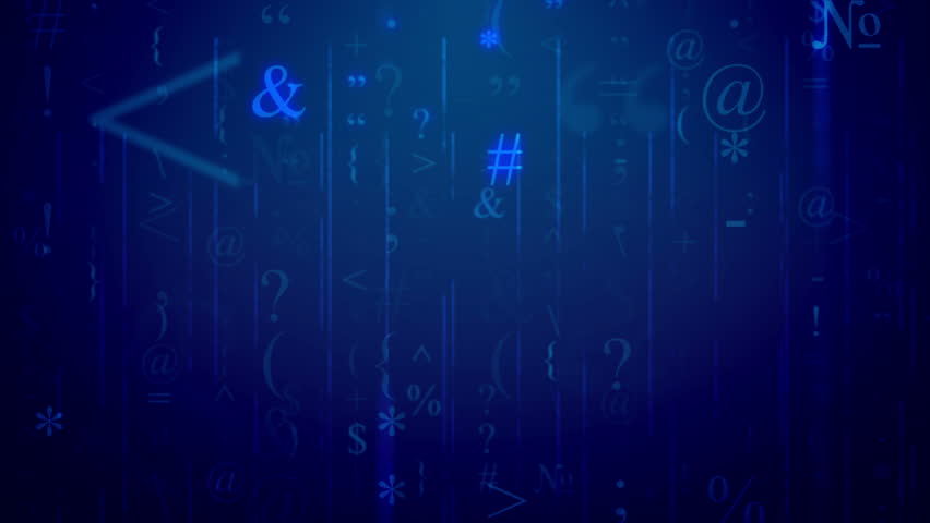 Random bracket, special marks, semicolon, colon, etc on a blue background. Seamless loop. #25305365