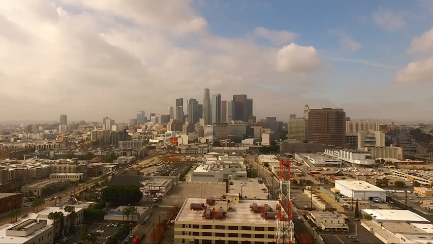 Urban Metropolis Los Angeles City Skyline Cloudy Blue Skies | Shutterstock HD Video #25307705