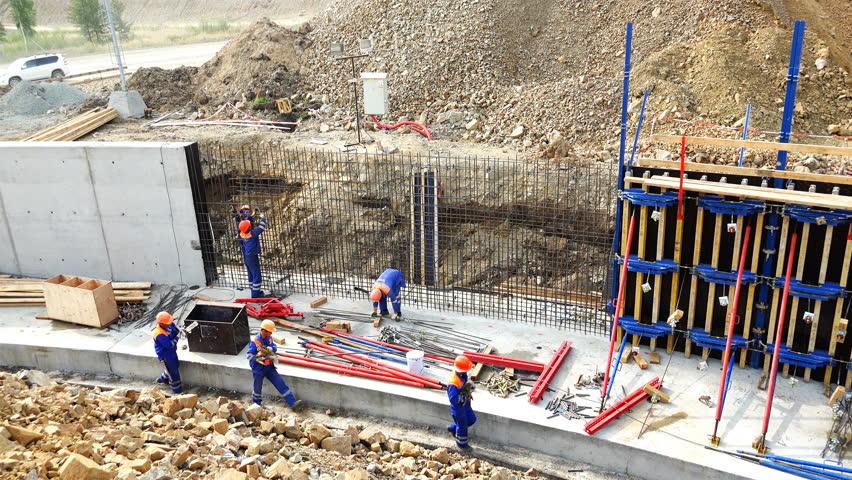 Zabaikalsky Krai, Gazimur-Zavodskoy District July 2, 2016 builders perform work on the erection of monolithic reinforced concrete structures of the structure