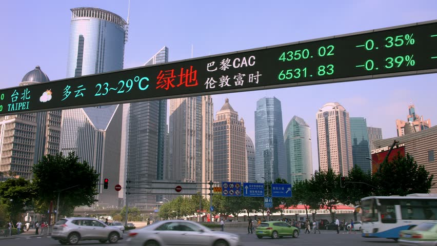 Stock market tickers financial Dow Jones index digital electronic display billboard in Shanghai, China, 4K, from RAW | Shutterstock HD Video #25341410