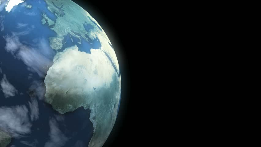Earth Loop. This animation of planet Earth loops seamlessly. Copy space on right. - HD stock footage clip