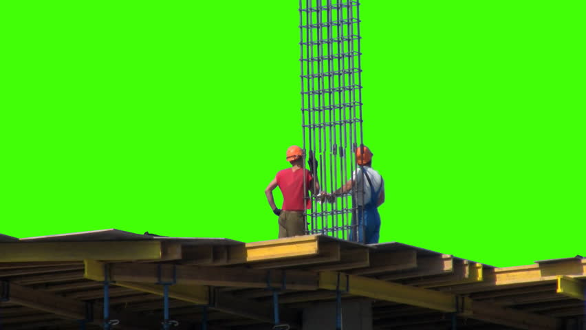 Two of the builder on a green screen