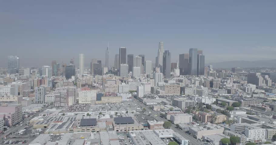 The camera flies over downtown Los Angeles | Shutterstock HD Video #25512203