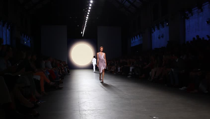 AMSTERDAM, THE NETHERLANDS - JULY 15: Models in Amsterdam Fashion Week present high fashion catwalk by Tony Cohen in Amsterdam, The Netherlands, July 15, 2012 - HD stock footage clip