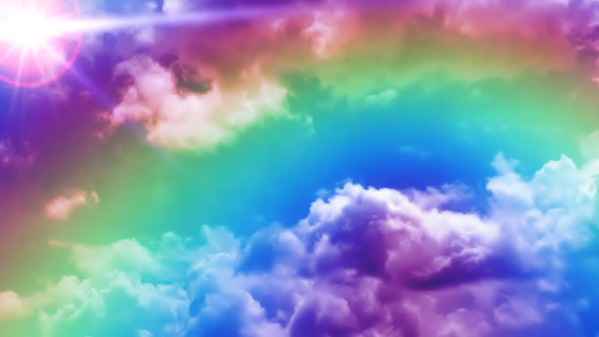 rainbow on time lapse clouds with sun in the corner stock footage video 255682