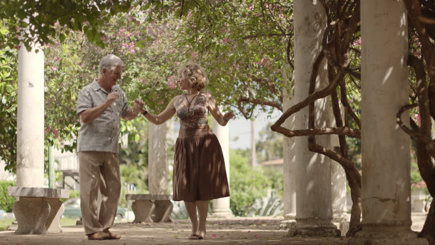 Old retired people and leisure activities, happy senior couple dancing latin american dance for fun #2564255