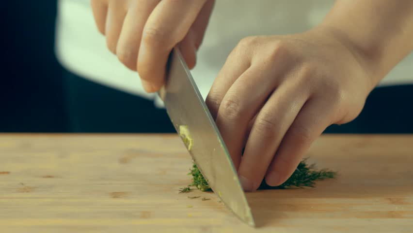 Chef chopping dill Close up #25669226