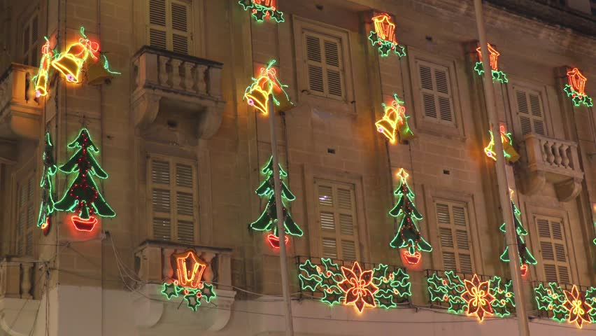 Building  lit by Christmas lights | Shutterstock HD Video #25747067