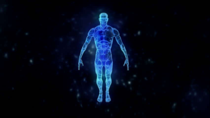 Transition from Human Physical Body To Energy Body in a Total Shot - Camera Spinning around the human | Shutterstock HD Video #25915520