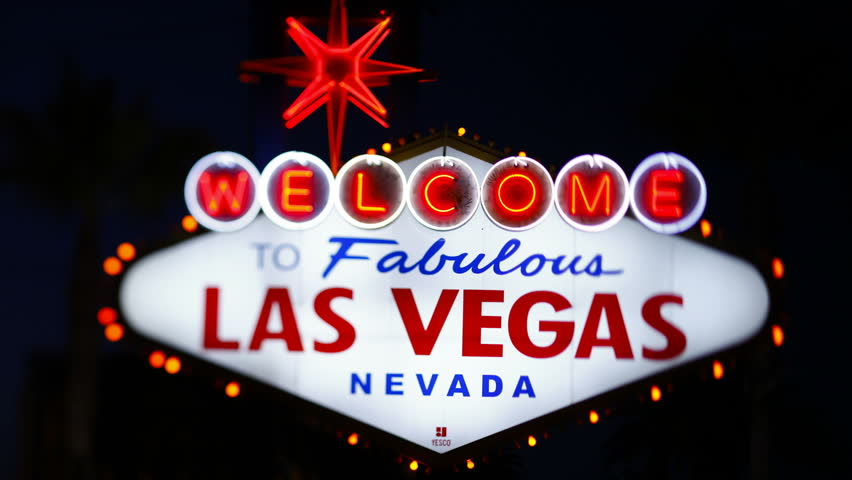 Welcome to Las Vegas sign, centershot at night | Shutterstock HD Video #2593388