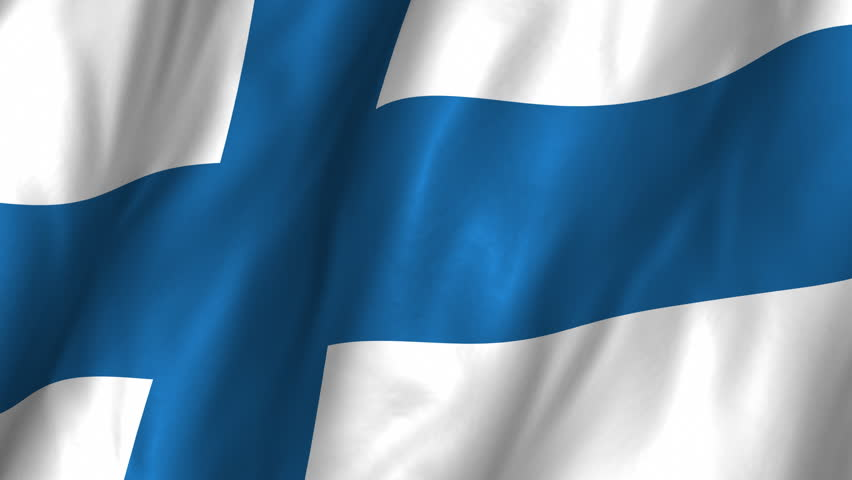 A beautiful satin finish looping flag animation of Finland.     A fully digital rendering using the official flag design in a waving, full frame composition.  The animation loops at 10 seconds.   - HD stock footage clip