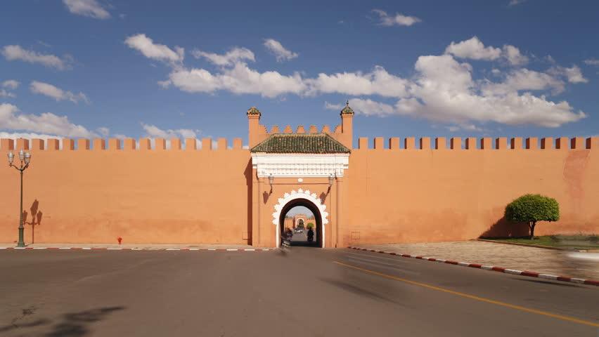 MARRAKESH, MOROCCO - CIRCA MAY 2011: Medieval ramparts of the Old City, Marrakech, Morocco.