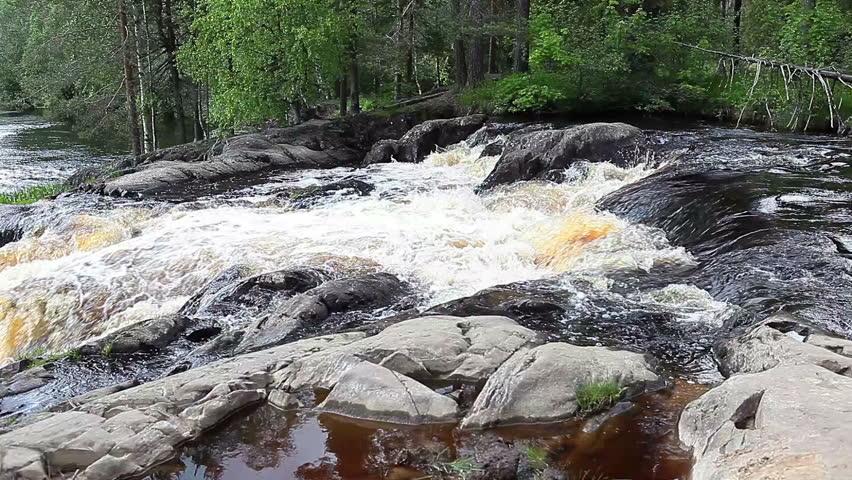 Ruskeala waterfalls - four lowland falls in Sortavala region on the river Tohmajoki in Ruskeala, Karelia, Russia - HD stock video clip