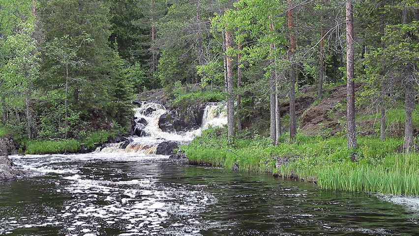 Ruskeala waterfalls - four lowland falls in Sortavala region on the river Tohmajoki in Ruskeala, Karelia, Russia - HD stock video clip