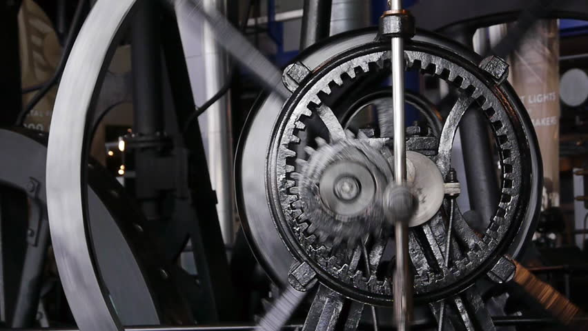 Old steam engine gear system which uses planetary gears.