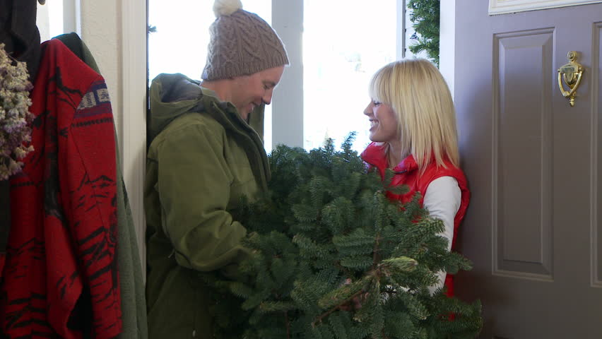 Couple in winter clothes bringing Christmas tree in through the front door - HD stock video clip
