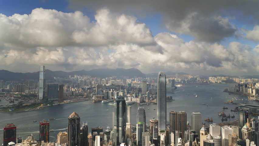 View over hong kong from victoria peak the illuminated skyline of central | Shutterstock HD Video #26048648