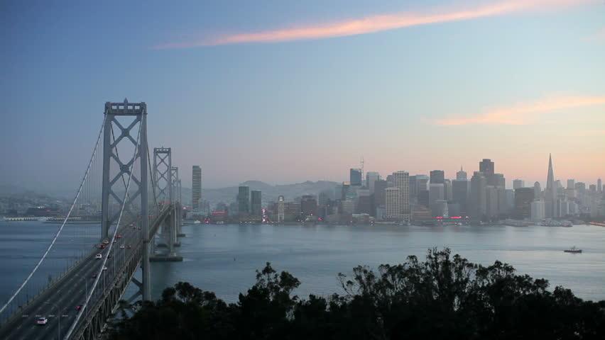 City skyline and Bay Bridge from Treasure Island, San Francisco, California, USA