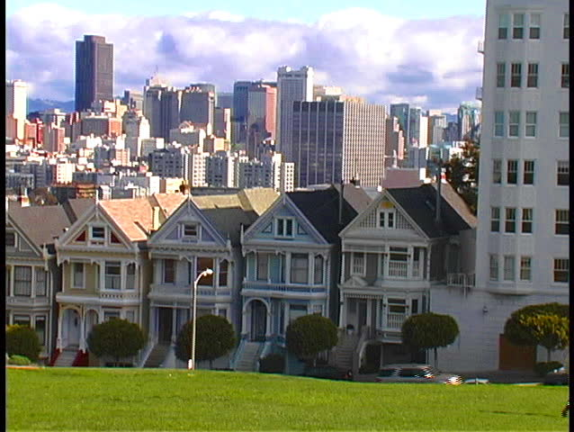 Victorian houses in San Francisco - SD stock video clip