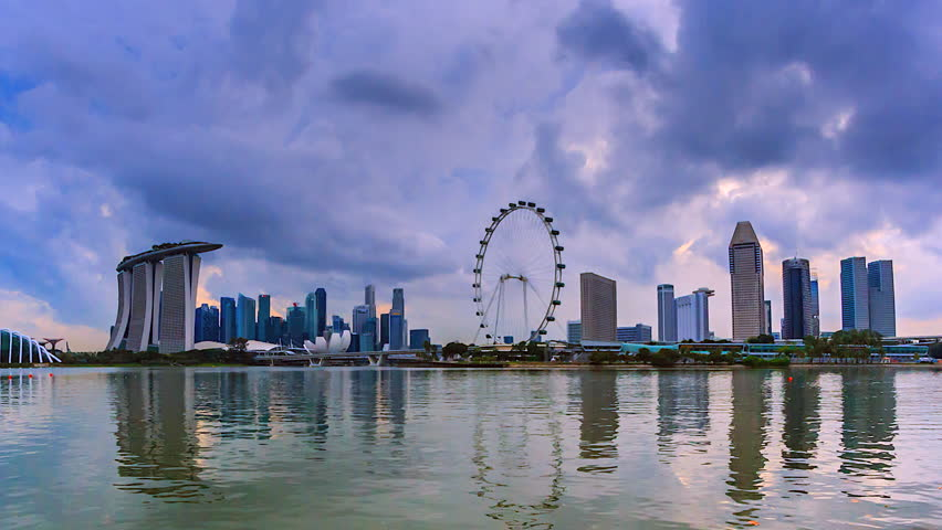 4K.Time lapse The view water reflection of Singapore city | Shutterstock HD Video #26106410