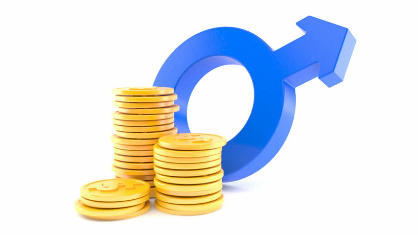 Male gender symbol with stack of coins isolated on white background | Shutterstock HD Video #26123609