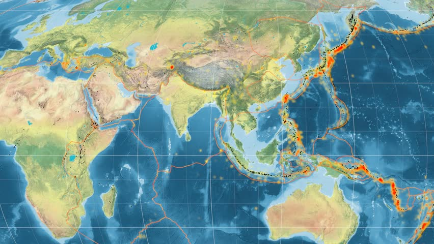 India tectonic plate featured & animated against the global topographic map in the Mollweide projection. Tectonic plates borders (Peter Bird's division), earthquakes, volcanoes | Shutterstock HD Video #26134067