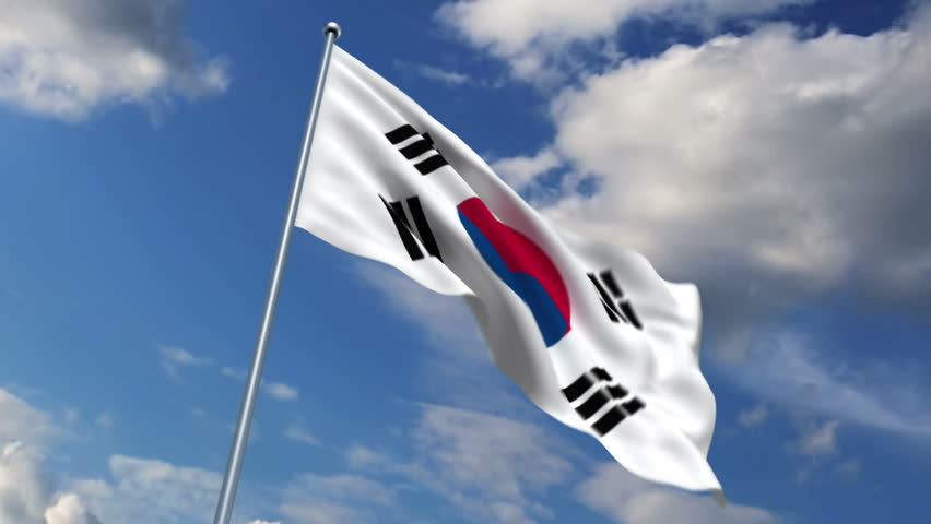 South Korean flag waving against time-lapse clouds background - HD stock footage clip