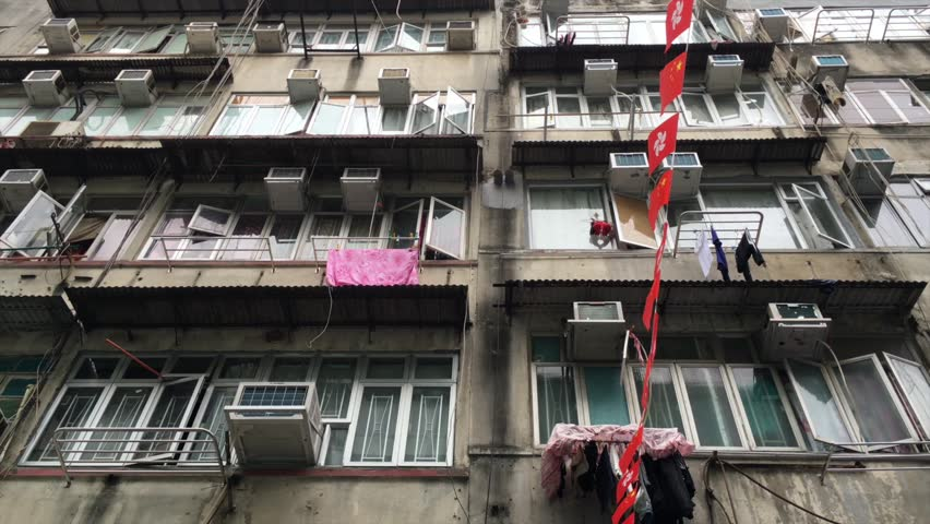 Hong Kong street view. House with hanging laundry.  | Shutterstock HD Video #26151329