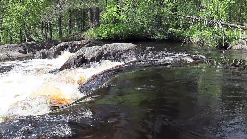 Ruskeala waterfalls - four lowland falls in Sortavala region on the river Tohmajoki in Ruskeala, Karelia, Russia - HD stock footage clip
