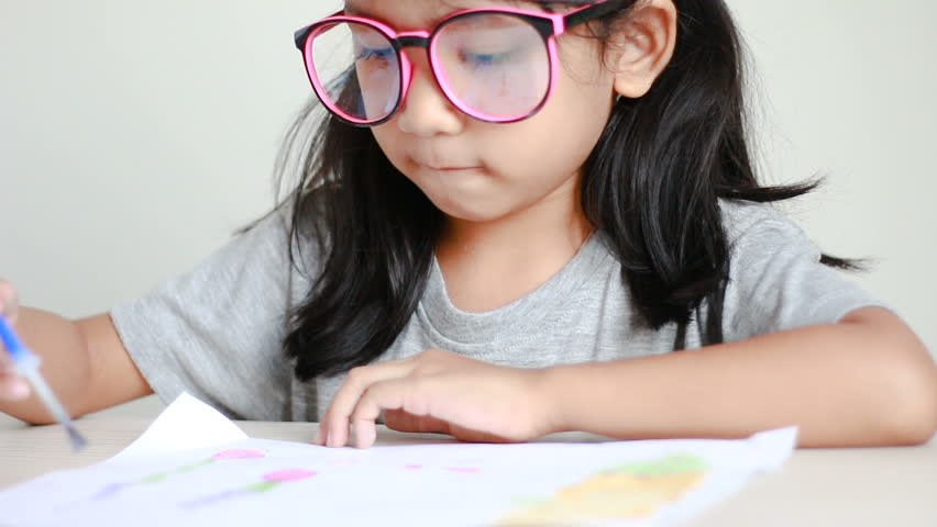 Close up shot asian little girl drawing and painting for art education concept  | Shutterstock HD Video #26165198