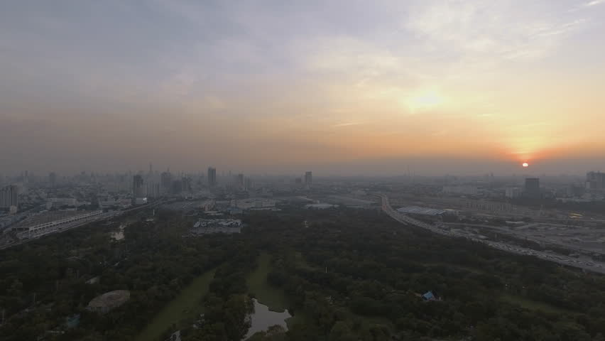 Sunset at city skyline aerial shot | Shutterstock HD Video #26185583