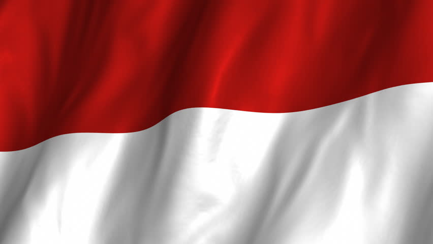 A beautiful satin finish looping flag animation of Indonesia.     A fully digital rendering using the official flag design in a waving, full frame composition.  The animation loops at 10 seconds.   - HD stock video clip