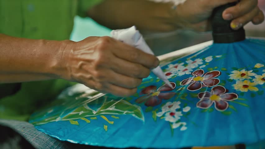 How to make the process umbrella made of paper / fabric. Arts and crafts of the village Bo Sang, Chiang Mai Thailand. | Shutterstock HD Video #26196086