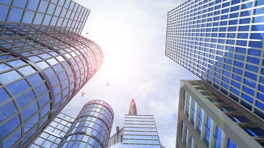 animated growing transforming buildings with flying birds and airplane