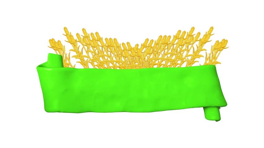 Green ribbon with Plasticine wheat. Background for farm. Alpha matte. Clay animation. 4K   Shutterstock HD Video #26217659
