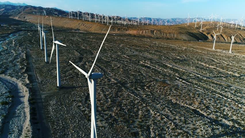 Alternative energy / Huge Windmills Farm / Aerial Drone shot / Slow motion | Shutterstock HD Video #26219108
