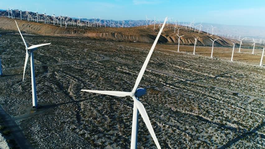 Alternative energy / Huge Windmills Farm / Aerial Drone shot / Slow motion | Shutterstock HD Video #26219117