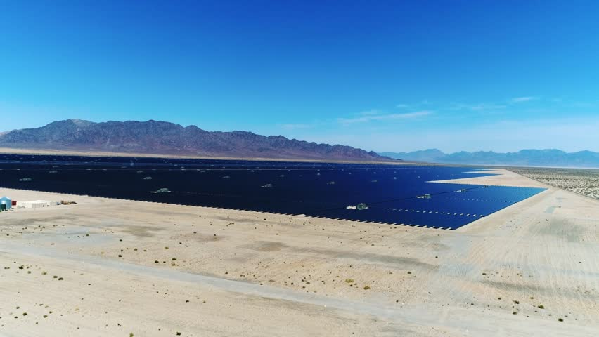 Sources of alternative energy / Huge fields of solar panels / the biggest solar farm in the world / Aerial Drone Shot / 4k Slow motion | Shutterstock HD Video #26219207