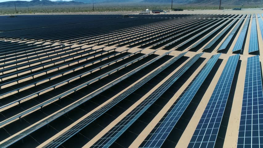 Sources of alternative energy / Huge fields of solar panels / the biggest solar farm in the world / Aerial Drone Shot / 4k Slow motion | Shutterstock HD Video #26219216