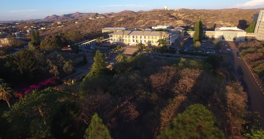 Aerial drone video with view of old historical fort in city center of Windhoek, other old buildings and church in town in central highland Khomas Hochland of Namibia, southern Africa | Shutterstock HD Video #26221574