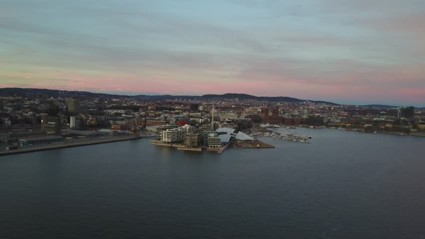 Aerial drone flying over Aker Brygge in Oslo, Norway | Shutterstock HD Video #26222627
