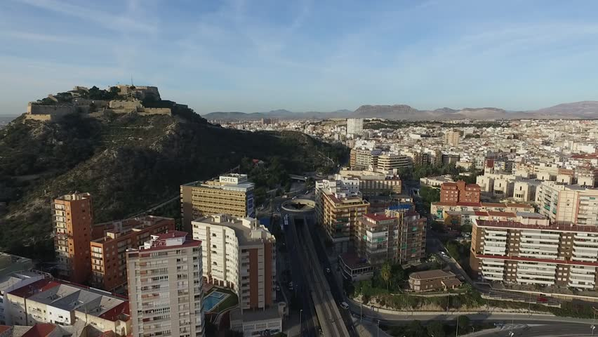 Aerial view from the Postiguet beach bridge, birds in the Alicante city | Shutterstock HD Video #26233427