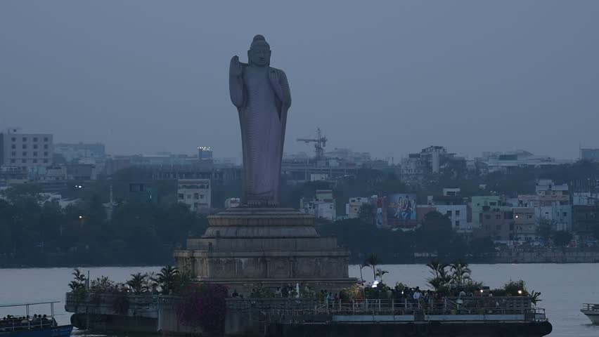 HYDERABAD, INDIA - MAY 02,2017 The Buddha Statue of Hyderabad is a monolith located in India. It is the world's tallest monolith of Gautama Buddha