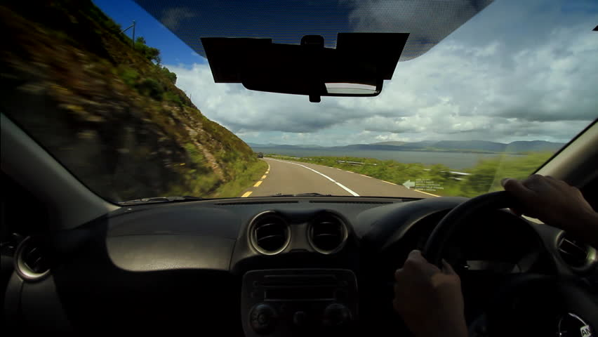 POV driving the Ring of Kerry in Ireland. - HD stock video clip