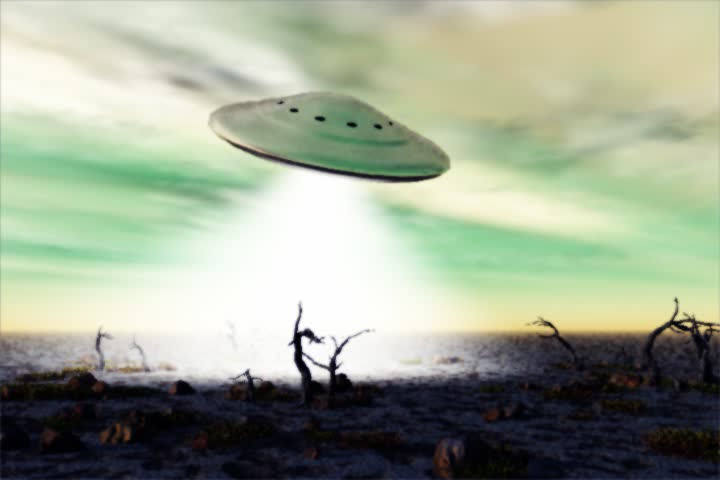 animated UFO with light cone over landscape with dead trees - SD stock video clip