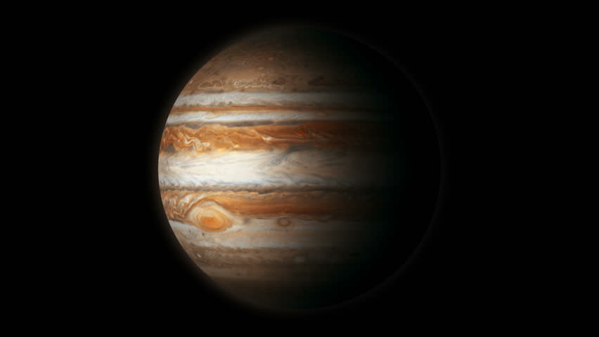 The Planet Jupiter animated stock footage. A photo realistic animation of the Planet Jupiter with a realistic slow band of cloud in it's atmosphere. | Shutterstock HD Video #2657153