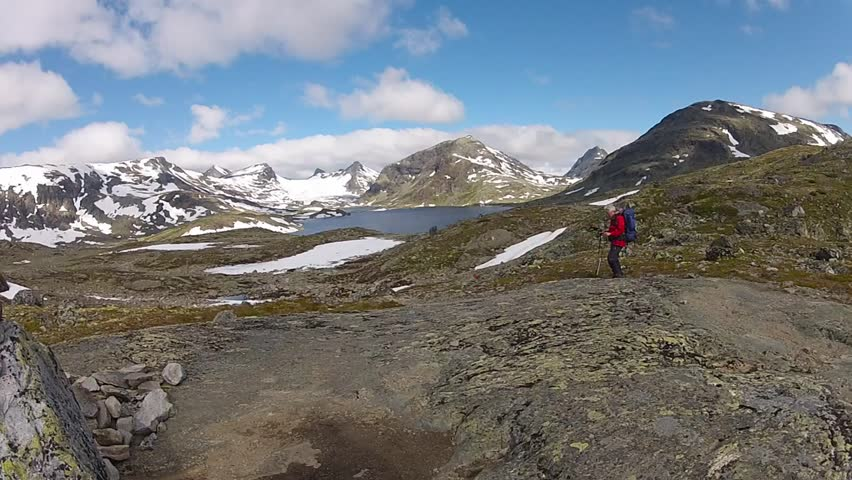 hiking in Norway mountains - HD stock footage clip