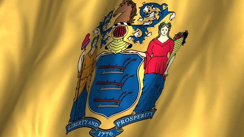 Waving Flag Of The Us State Of New Jersey Bearing The